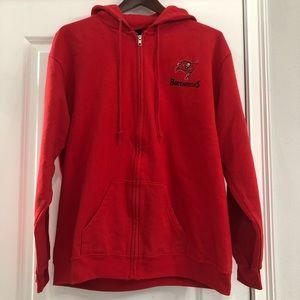 NFL Team Apparel Buccaneers Red Zip Front Hoodie